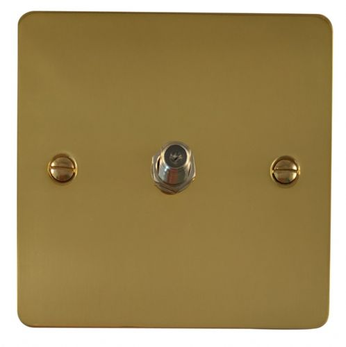 G&H FB37 Flat Plate Polished Brass 1 Gang Single Satellite Point Socket